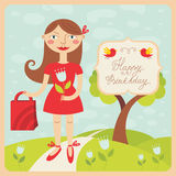 Birthday card with girl Royalty Free Stock Images