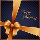 Birthday card with gold ribbon. Illustration of Birthday card with gold ribbon Royalty Free Stock Photo