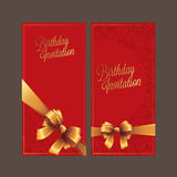 Birthday card with gold ribbon vector design Royalty Free Stock Image