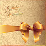 Birthday card with gold ribbon vector design Stock Photo