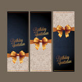 Birthday card with gold ribbon vector design Royalty Free Stock Photography