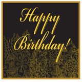 Birthday card with golden flowers and text. Royalty Free Stock Photos