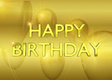 Birthday card with golden party ballons on Royalty Free Stock Photography