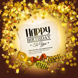 Birthday card with golden stars, colorful curling Royalty Free Stock Image