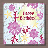 Birthday card with gradient flowers Stock Photos