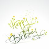 Birthday card with green grass and flowers. Vector illustration Stock Photo
