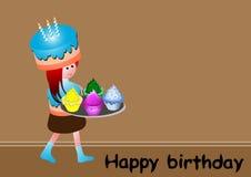 Birthday card. Birthday greeting card with girl and big cupcake vector illustration