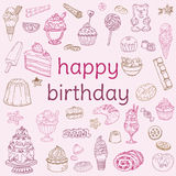 Birthday Card - with hand drawn elements Royalty Free Stock Photo