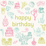 Birthday Card - with hand drawn elements Royalty Free Stock Images