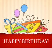 Birthday card hand drawn with gifts Royalty Free Stock Image