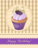 Vintage birthday card with  blueberry cupcake on napkin Royalty Free Stock Photos
