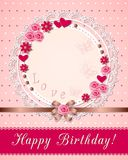 Vintage scrapbooking birthday card with flowers on the napkin Royalty Free Stock Images