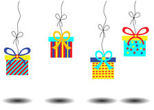 Birthday card with hanging four colorful gifts Royalty Free Stock Image