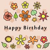 Birthday Card. Happy Birthday - greeting card with colorful doodle flowers. Holiday celebration Royalty Free Stock Images