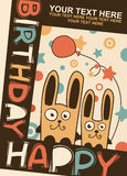 Birthday card with hares Royalty Free Stock Photos