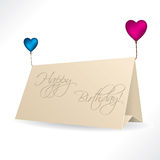 Birthday card with heart shaped balloons Stock Photos