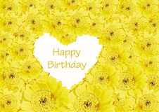 Birthday card. Heart of yellow gerberas flowers. Birthday card. Heart of beautiful gerberas flowers royalty free stock photography