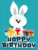 Birthday card illustrated bunny and birthday gifts Stock Image