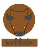 Birthday card with illustration cute buffalo Stock Photo