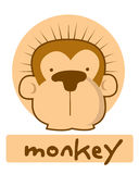 Birthday card with illustration cute monkey Royalty Free Stock Photos