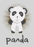 Birthday card with illustration cute panda Stock Photography