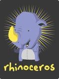 Birthday card with illustration cute rhinoceros Royalty Free Stock Photography