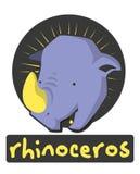Birthday card with illustration cute rhinoceros Royalty Free Stock Photo