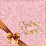 The Birthday card and invitation card with pink color background vector design Royalty Free Stock Photos