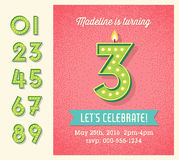 Birthday card invitation design with set of lighted retro numbers Royalty Free Stock Image
