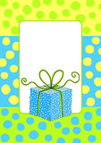 Birthday card invitation with a gift box. Birthday card with border frame and a polka dot gift box Royalty Free Stock Images