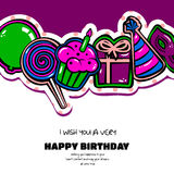 Birthday card with items, balloon, cake, hat, lollipop, masquerade and gift on dotted background. Vector Stock Photo