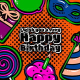 Birthday card with items, balloon, cake, hat, lollipop, masquerade and gift on dotted background. Vector Royalty Free Stock Photos