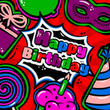 Birthday card with items, balloon, cake, hat, lollipop, masquerade and gift on red background. Vector Stock Photos