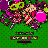 Birthday card with items, balloon, cake, hat, star, lollipop, masquerade and gift on dotted background. Vector Stock Image