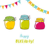 Birthday card with Jam Jars and brush lettering text Royalty Free Stock Images