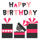 Birthday card with kitty Stock Photos