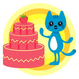 Birthday card with kitty and cake Stock Image