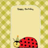 Birthday card with ladybug Stock Photography