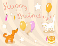 Birthday card in light pastel colors Royalty Free Stock Photos