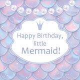 Birthday card for little girl. Holographic fish or mermaid scales, pearls and frame. Vector illustration. Birthday card for little girl. Holographic fish or Royalty Free Stock Photo