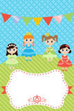 Birthday card with little girls Royalty Free Stock Images