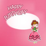 Birthday card with little princess Stock Images