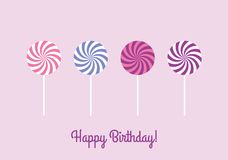 Birthday card with lollipops Stock Image