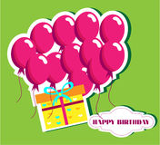 Birthday card with many pink ballons and yellow. Card with flying ballons, green background, text Happy birthday Stock Image