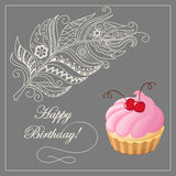 Birthday card with merinque cake, cherry and feather Royalty Free Stock Images