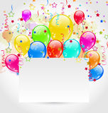 Birthday card with multicolored balloons and confe Royalty Free Stock Photos