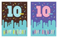Birthday card with number 10 celebration candle. Birthday greeting card with dripping glaze on decorated cake and number 10 celebration candle Stock Image