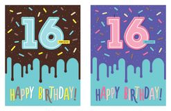 Birthday card with number 16 celebration candle royalty free illustration
