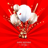 Birthday card with open gift box, balloons and Stock Images