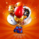 Birthday card with open gift box, balloons and Stock Photos